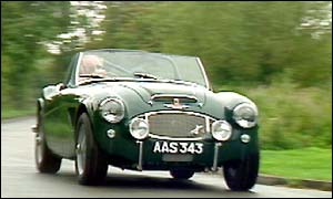 The new Austin Healey has a top speed of 135 mph.